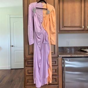 Attico silk long sleeve gown w embellishments